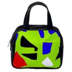 Green abstraction Classic Handbags (One Side)