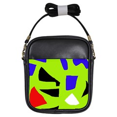 Green abstraction Girls Sling Bags