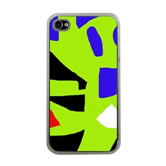 Green abstraction Apple iPhone 4 Case (Clear)
