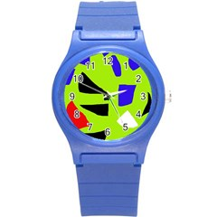 Green abstraction Round Plastic Sport Watch (S)