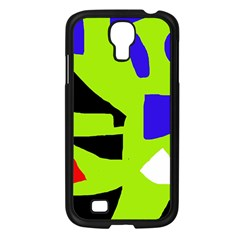 Green abstraction Samsung Galaxy S4 I9500/ I9505 Case (Black)