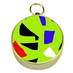 Green abstraction Gold Compasses