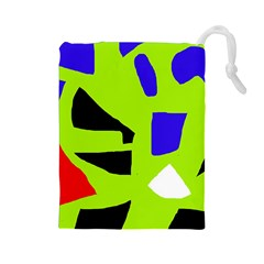 Green abstraction Drawstring Pouches (Large)