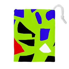 Green abstraction Drawstring Pouches (Extra Large)