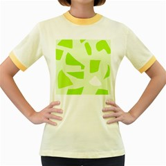 Green abstract design Women s Fitted Ringer T-Shirts