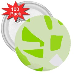 Green abstract design 3  Buttons (100 pack)