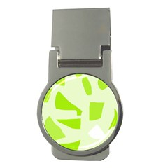 Green abstract design Money Clips (Round)