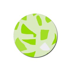 Green abstract design Rubber Round Coaster (4 pack)