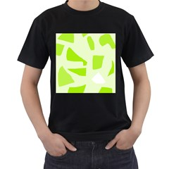 Green abstract design Men s T-Shirt (Black) (Two Sided)