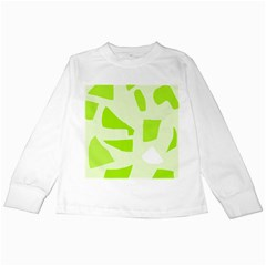 Green abstract design Kids Long Sleeve T-Shirts
