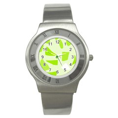 Green abstract design Stainless Steel Watch
