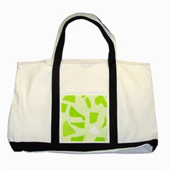 Green abstract design Two Tone Tote Bag