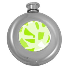 Green abstract design Round Hip Flask (5 oz)