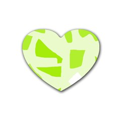 Green abstract design Heart Coaster (4 pack)