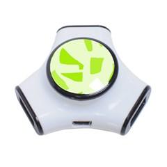 Green abstract design 3-Port USB Hub