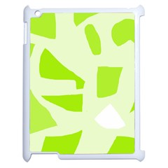 Green abstract design Apple iPad 2 Case (White)