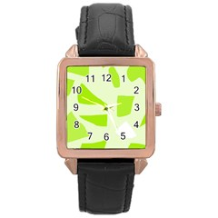Green abstract design Rose Gold Leather Watch
