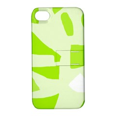 Green Abstract Design Apple Iphone 4/4s Hardshell Case With Stand