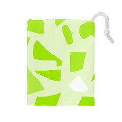 Green abstract design Drawstring Pouches (Large)
