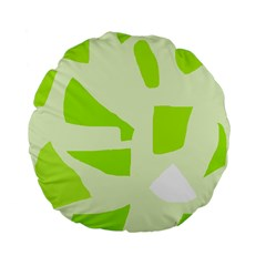 Green abstract design Standard 15  Premium Flano Round Cushions