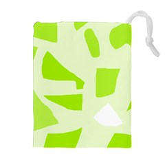 Green abstract design Drawstring Pouches (Extra Large)