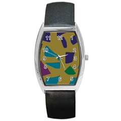 Colorful abstraction Barrel Style Metal Watch