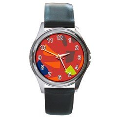 Red abstraction Round Metal Watch