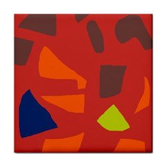 Red abstraction Tile Coasters