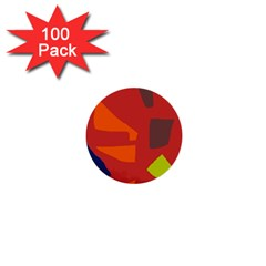 Red abstraction 1  Mini Buttons (100 pack)