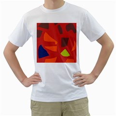 Red abstraction Men s T-Shirt (White) (Two Sided)