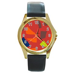 Red abstraction Round Gold Metal Watch
