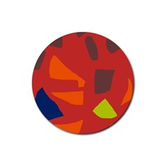 Red abstraction Rubber Coaster (Round)