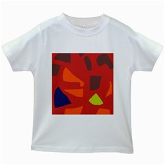 Red abstraction Kids White T-Shirts