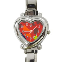 Red abstraction Heart Italian Charm Watch
