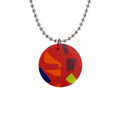 Red abstraction Button Necklaces