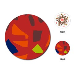 Red abstraction Playing Cards (Round)