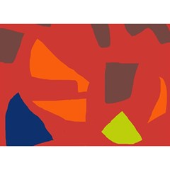 Red Abstraction Birthday Cake 3d Greeting Card (7x5)
