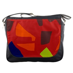 Red abstraction Messenger Bags