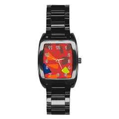 Red abstraction Stainless Steel Barrel Watch