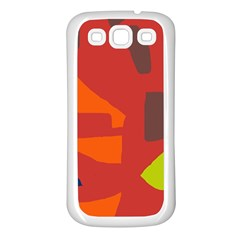 Red abstraction Samsung Galaxy S3 Back Case (White)