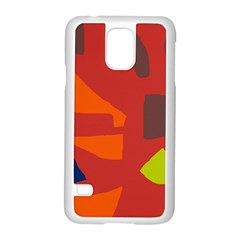 Red abstraction Samsung Galaxy S5 Case (White)