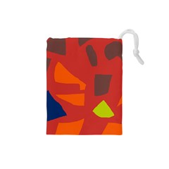 Red abstraction Drawstring Pouches (Small)