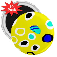 Yellow abstract pattern 3  Magnets (10 pack)
