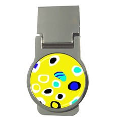 Yellow abstract pattern Money Clips (Round)