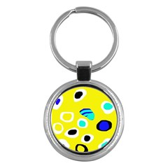 Yellow abstract pattern Key Chains (Round)