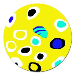 Yellow abstract pattern Magnet 5  (Round)