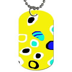 Yellow abstract pattern Dog Tag (One Side)