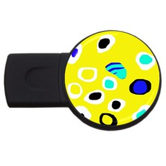 Yellow abstract pattern USB Flash Drive Round (2 GB)