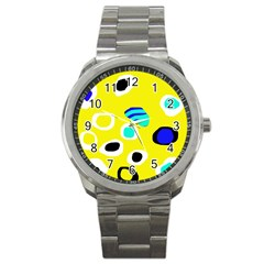 Yellow abstract pattern Sport Metal Watch