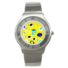 Yellow abstract pattern Stainless Steel Watch